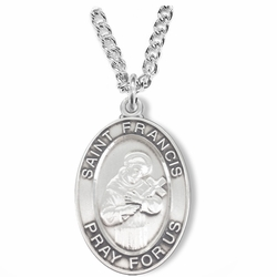 1-1/8 Inch Sterling Silver Oval St. Francis Medal, Patron of Animals