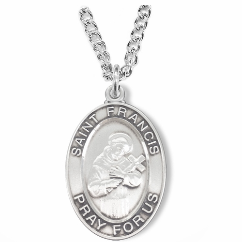 1-1/8 Inch Sterling Silver Oval St. Francis Medal, Patron Saint of Animals