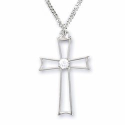 1-1/8 Inch Sterling Silver Pierced Cross Necklace