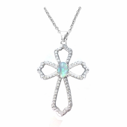 1-1/8 Inch Sterling Silver Pierced Cross Necklace with Cubic Zirconia and Imitation Opal Stones