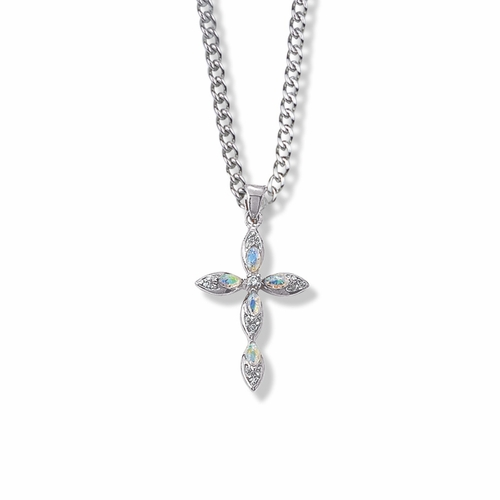 1-1/8 Inch Sterling Silver Pointed Oval Ends Cross Necklace with Opal Stones