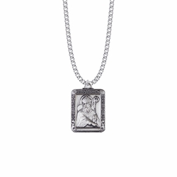 1-1/8 Inch Sterling Silver Rectangle St. Patrick Medal, Patron Saint of Ireland
