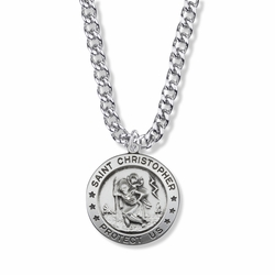 1-1/8 Inch Sterling Silver Round Engraved St. Christopher Medal, Patron Saint of Travelers