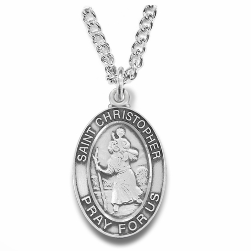 1-1/8 Inch Sterling Silver St. Christopher Oval Medal, Patron of Travelers