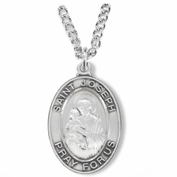 1-1/8 Inch Sterling Silver St. Joseph Oval Medal, Patron of Carpenters