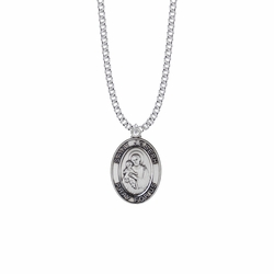 1-1/8 Inch Sterling Silver St. Joseph Oval Medal, Patron Saint of Carpenters and Fathers