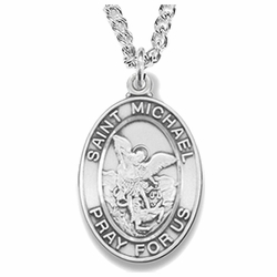 1-1/8 Inch Sterling Silver St. Michael Oval Medal, Patron of Police