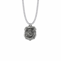 1-1/8 Inch Sterling Silver St. Michael Shield Medal, Patron Saint of Police Officers