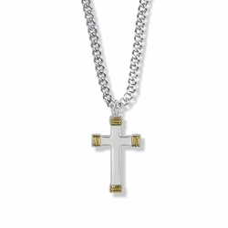 1-1/8 Inch Sterling Silver Two-Tone Rope Ends Cross Necklace