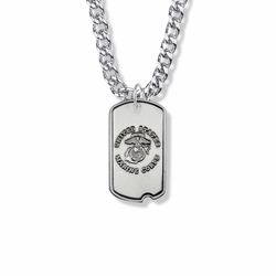 1-1/8 Inch Sterling Silver U.S. Marine Corps Dog Tag with Cross and Philippians 4:13 on Back