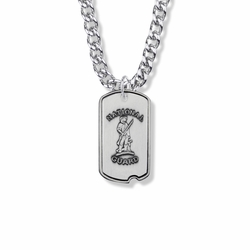 1-1/8 Inch Sterling Silver U.S. National Guard Dog Tag with Cross and Philippians 4:13 on Back