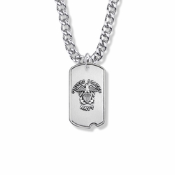 1-1/8 Inch Sterling Silver U.S. Navy Dog Tag with Cross and Philippians 4:13 on Back