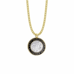 1-1/8 Inch Two-Tone 14KT Gold Plated  Over Sterling Silver Black Enameled St. Christopher Medal, Patron Saint of Travelers
