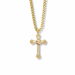 1-1/8 Inch Two-Tone 14K Gold Over Sterling Silver Dove and Budded Ends Cross Necklace