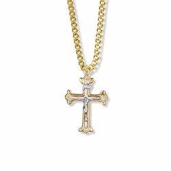 1-1/8 Inch Two-Tone 14K Gold Over Sterling Silver Open Ends Crucifix Necklace