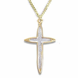 1-1/8 Inch Two-Tone 14K Gold Over Sterling Silver Pointed Ends Cross Necklace