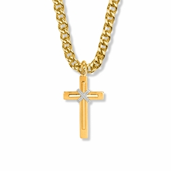 1-1/8 Inch Two-Tone 14K Gold Over Sterling Silver Rope Center Double Cross Necklace
