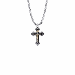 1-1/8 Inch Two-Tone Sterling Silver Budded Ends Black Enameled Crucifix Necklace