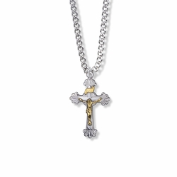 1-1/8 Inch Two-Tone Sterling Silver Budded Ends Crucifix Necklace