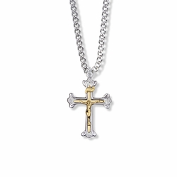 1-1/8 Inch Two-Tone Sterling Silver Open Ends Crucifix Necklace