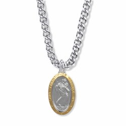1-1/8 Inch Two Tone Sterling Silver Oval St. Christopher Medal, Patron of Travelers