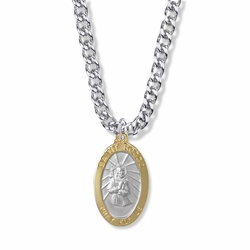 1-1/8 Inch  Two Tone Sterling Silver Oval St. Rocco Medal, Patron of Infectious Diseases