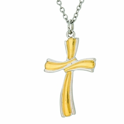 1-1/8 Inch Two-Tone Sterling Silver Ribbon Cross Necklace