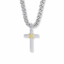 1-1/8 Inch Two-Tone Sterling Silver Rope Center Double Cross Necklace