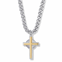 1-1/8 Inch Two-Tone Sterling Silver Starburst Cross Necklace