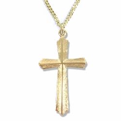 1-1/8 Inches 14K Gold Plated Over Sterling Silver Flared and Raised Cross Necklace