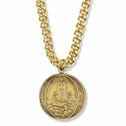 1-1/8 Round Pewter Gold Plated Our Lady of Fatima Medal