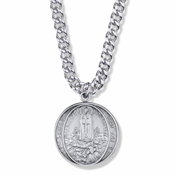 1-1/8 Round Pewter Our Lady of Fatima Medal
