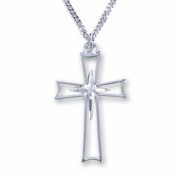 1-1/8 Sterling Silver Flared and Inner Cross Necklace