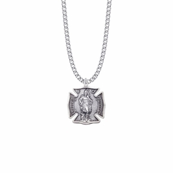 1-1/8 Sterling Silver St. Michael Shield Medal, Patron Saint of Firefighters