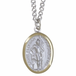 1-1/8 Two Tone Sterling Silver St. Florian Medal, Patron of Firefighters