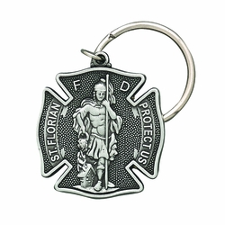 1-1/8 x 1-1/2 Inch Pewter St. Florian, Patron Saint of Fire Fighters Maltese Cross Key Chain