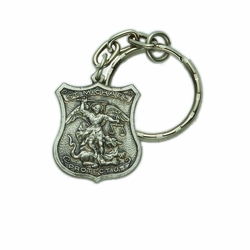 1-1/8 x 1 Inch Pewter St. Michael, Patron of Police Shield Key Chain