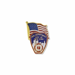 1-1/8 x 3/4 Inch Gold Enameled City of New York Fire Department Shield and American Flag Lapel Pin