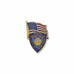 1-1/8 x 3/4 Inch Gold Enameled City of New York Police Department Shield and American Flag Lapel Pin