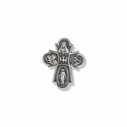1-1/8 x 7/8 Inch Pewter Four Way Pin
