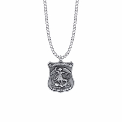 1-/16 Inch Pewter St. Michael Shield Medal, Patron Saint of Police Officers