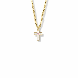 1/2 Inch 14K Gold Filled Enameled Rose Cross Necklace