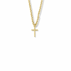 1/2 Inch 14K Gold Filled Stick Cross Necklace