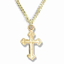 1/2 Inch 14K Gold Plated Over Sterling Silver Budded Ends Cross Necklace