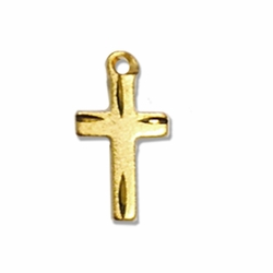 1/2 Inch 14K Gold Over Sterling Silver Diamond Engraved Cross Necklace