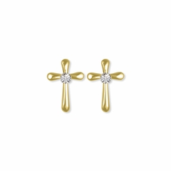 1/2 Inch 14K Gold Over Sterling Silver Flared Ends Crystal CZ Stone Cross Earrings
