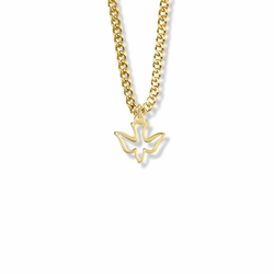 1/2 Inch Gold Plated Outlined Girl Confirmation Dove Necklace