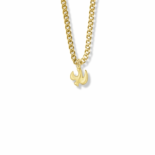 1/2 Inch Pewter and Gold Plated Descending Dove Girl Confirmation Necklace