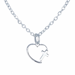 1/2 Inch Silver Plated Heart with Cross Necklace