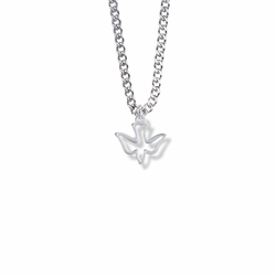 1/2 Inch Silver Plated Outlined Girl Confirmation Dove Necklace